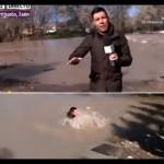 Estos periodistas no miraron donde pisaron… ¡y cayeron al agua en directo!